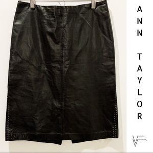 Ann Taylor Black Leather Skirt with White Piping